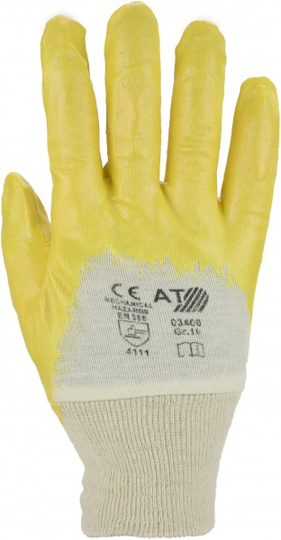 Nitril Handschuh gelb mit Strickbund